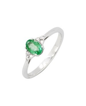 9ct White Gold Emerald &...