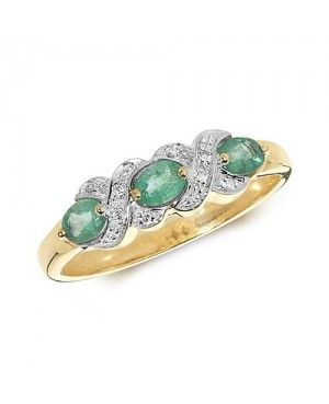 9ct Yellow Gold Emerald &...