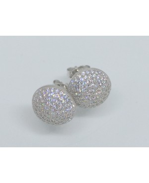 Silver & Crystal Dome Stud...