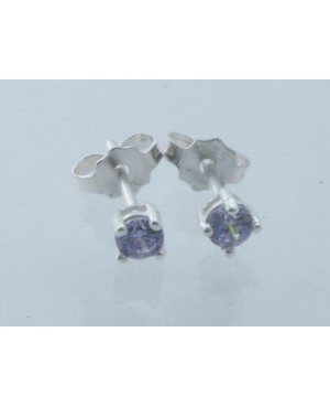 Silver & Cubic Zirconia Purple Stud Earrings