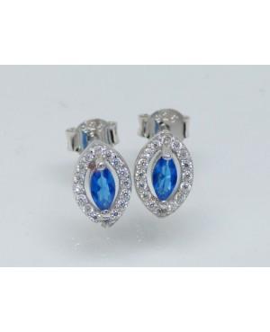 Silver Blue & White Cubic Zirconia Stud Earrings