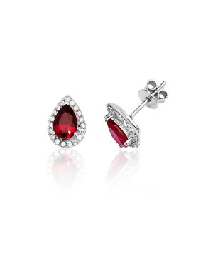 Silver & Red Cubic Zirconia...