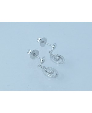 Silver & Cubic Zirconia Drop Stud Earrings