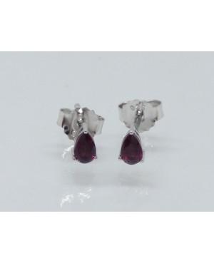 Silver & Garnet Stud Earrings