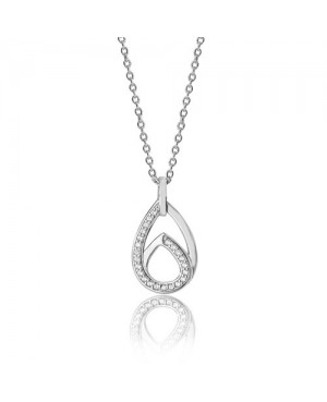 Silver & Cubic Zirconia Interlinked Double Pear Shaped Pendant