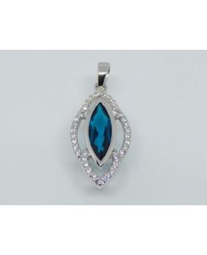 Silver Blue Crystal & Cubic...