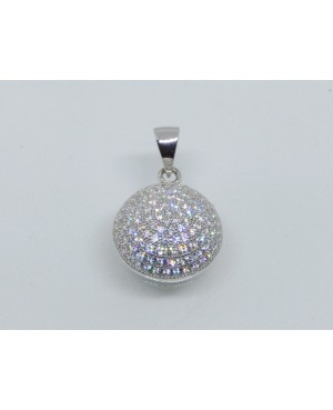 Silver & Crystal Dome Pendant