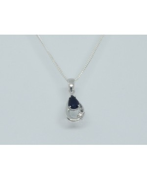 Silver & Sapphire with Cubic Zirconia Pendant