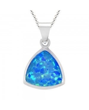 Silver Synthetic Opal Pendant