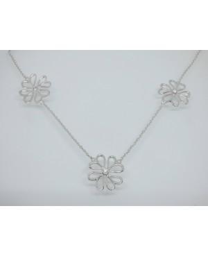 Silver & Cubic Zirconia Flower & Heart Pendant