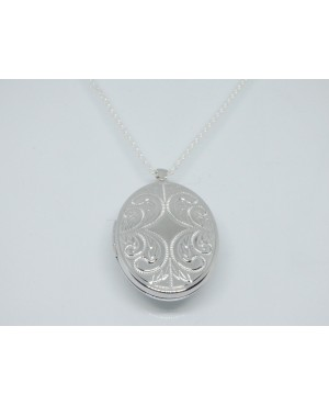 Silver Oval Engraved Locket...