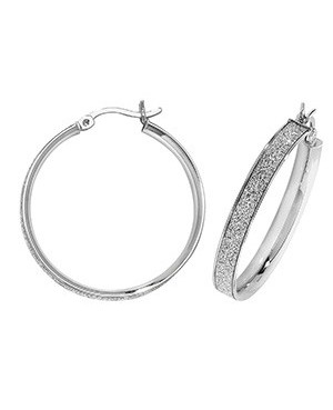 Silver Sparkle Hoops 25mm
