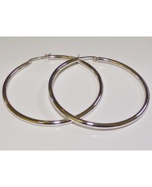 Silver Hoop Earrings 60mm