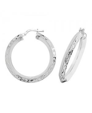 Silver Diamond Cut Hoop...