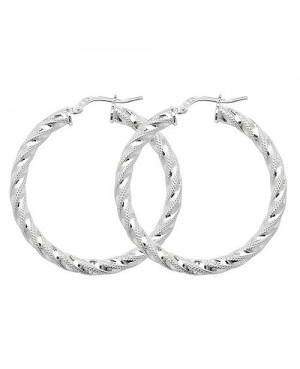 Silver Diamond Cut Hoop...