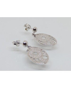 Silver Oval Drop Stud Earrings