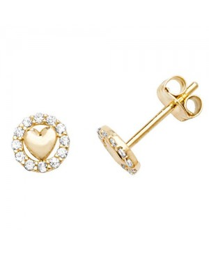 9ct Yellow Gold & Cubic Zirconia Stud Earrings