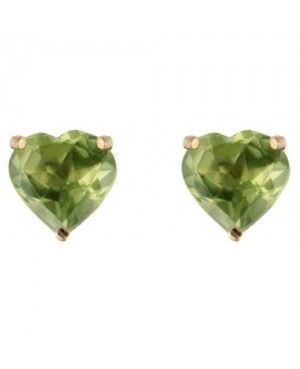 9ct Yellow Gold & Peridot Heart-Shaped Claw Set Stud Earrings 5mm