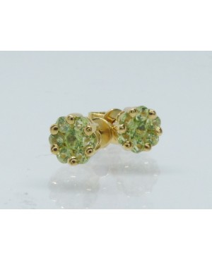 9ct Yellow Gold & Peridot 7 Stone Cluster Stud Earrings