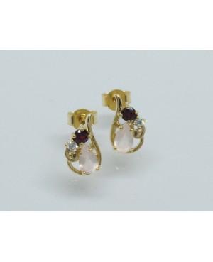 9ct Yellow Gold Rose Quartz & Garnet Stud Earrings