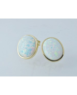 9ct Yellow Gold & Synthetic Opal Stud Earrings
