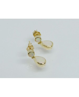 9ct Yellow Gold & Opal Drop Earrings