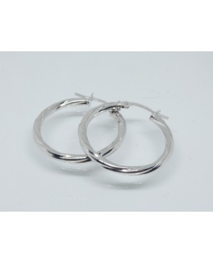 9ct White Gold Twisted Hoop...