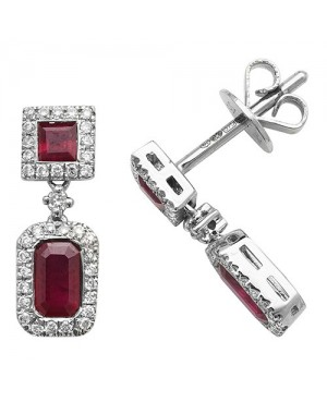 9ct White Gold Ruby & Diamond Double Cluster Drop Earrings