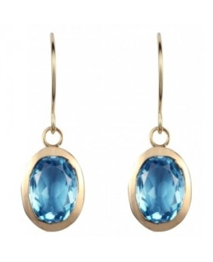 9ct Yellow Gold & Topaz Oval Drop Earrings