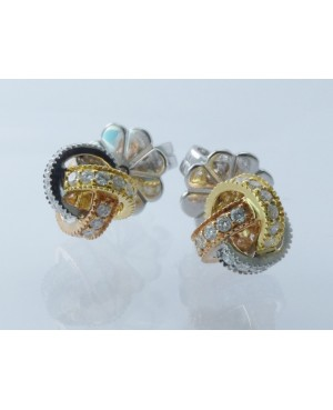 18ct Yellow, Rose & White Gold Diamond Knot Stud Earrings
