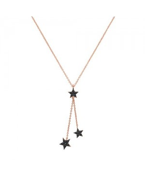 Rose Gold Plated Silver & Cubic ZIrconia Black Star Necklace