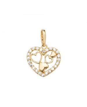 9ct Yellow Gold & Cubic Zirconia Heart Pendant