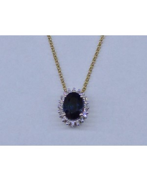 9ct Yellow Gold & Sapphire & Diamond Pendant & Chain