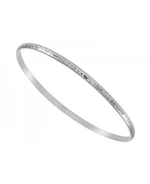 Silver Hammered Bangle 3x60mm