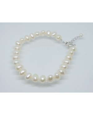 """Silver & Freshwater 6mm Pearl with Extender Bracelet 7½- 8½"""""""