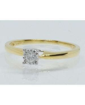 9ct Yellow Gold & Diamond Illusion Set Solitaire Ring