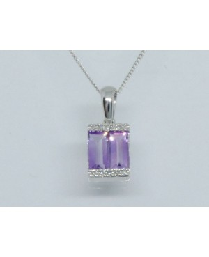9ct White Gold Amethyst &...