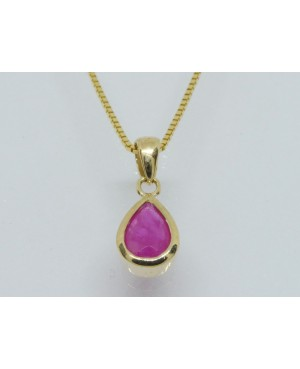 9ct Yellow Gold & Ruby Pear-Shaped Pendant 7x5mm