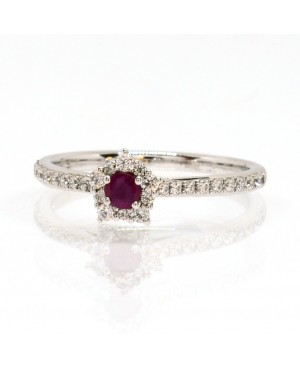 Silver Ruby & Cubic Zirconia Cluster Ring