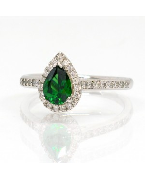 Silver Green Cubic Zirconia Pear Shaped Cluster Ring