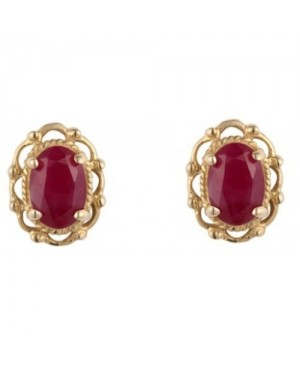 Gold & Ruby Earrings