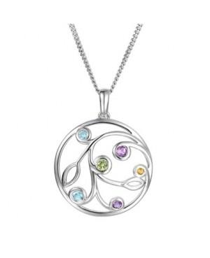 Silver Multi Gemstone Pendant