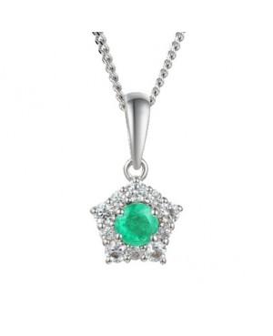 Silver Emerald Cubic Zirconia Pendant