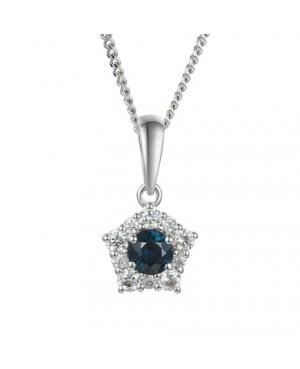 Silver Sapphire Cubic Zirconia Pendant