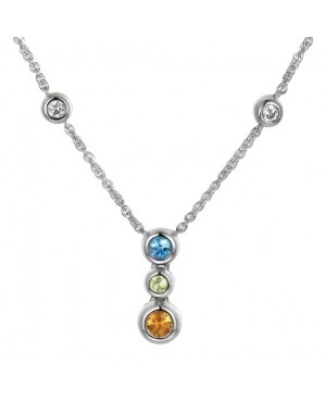 Silver Multi Stone Necklace