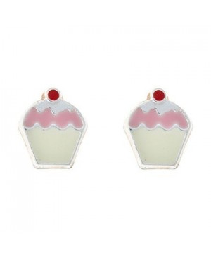 Silver Cup Cake Earrings