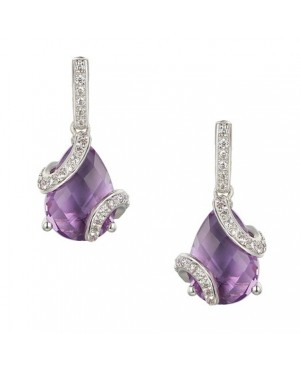Silver Amethyst Cubic Zirconia Earrings