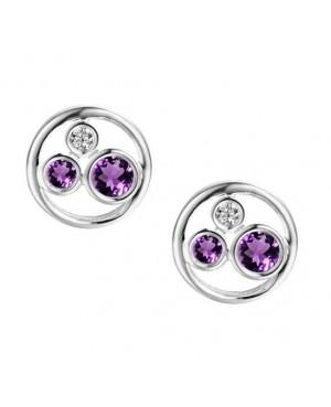 Silver Amethyst Cubic Zirconia Earrings
