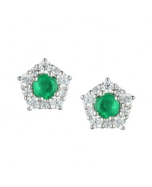 Silver Emerald CZ Earrings