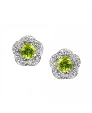 Silver Peridot Cubic Zirconia Earrings